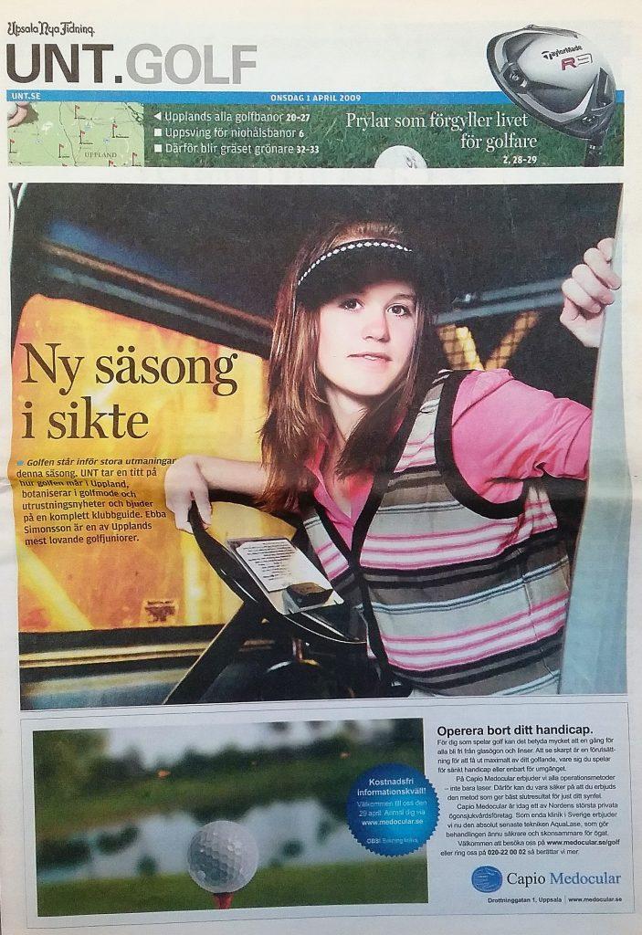 UNT.GOLF 40-sidig golfbilaga med Ebba Simonsson Upsala GK på förstasidan.